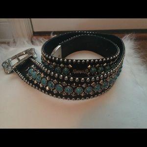 Kippys black leather with turquoise 36